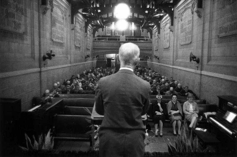 1961: A congregation mostly of homeless elderly men listen to a sermon at the Christian Herald's Bowery Mission, New York, on Manhattan's Lower East Side. (Photo by William Lovelace/Express/Getty Imag
