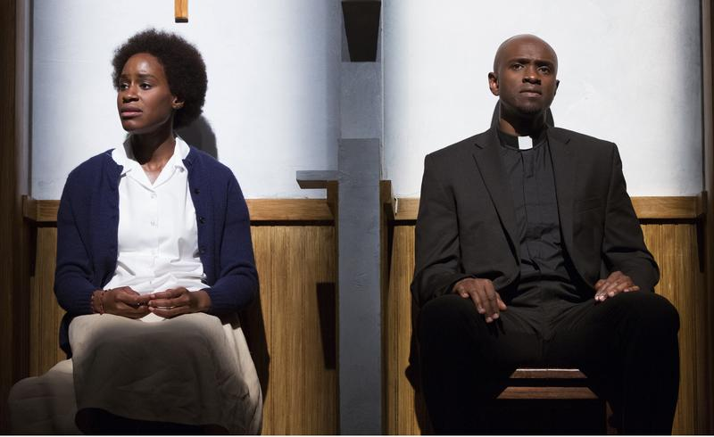 "Nneka Okafor as Alphonsine Mumureke and Owiso Odera as Father Tuyishime in ""Our Lady of Kibeho"""
