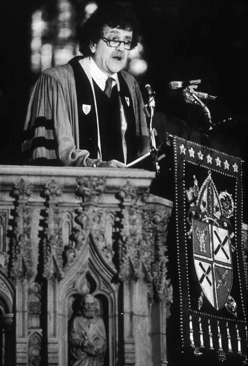 Writer Kurt Vonnegut , Jr., wearing academic robes, giving a sermon in a nuclear debate series at the Cathedral of St. John the Divine, New York City, May 23, 1982.