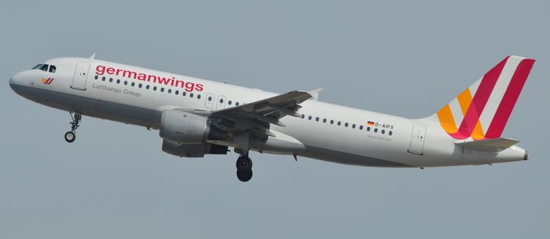 Airbus A320 (D-AIPX) of Germanwings taking off from Barcelona Airport. This aircraft crashed on 24 March 2015 in the French Alps as Germanwings Flight 9525