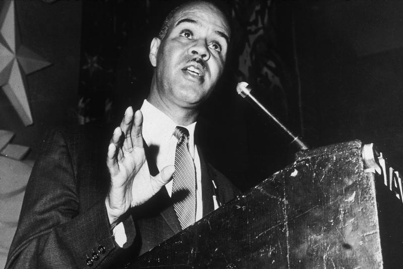 Civil rights leader Roy Wilkins (1901 - 1981), executive secretary of the NAACP, at a uinon convention, May 21, 1958.