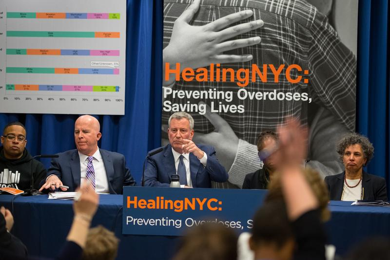 Mayor de Blasio, First Lady Chirlane McCray, Police Commissioner James O'Neill and Health Commissioner Dr. Mary T. Bassett announce new plan to combat opioid epidemic