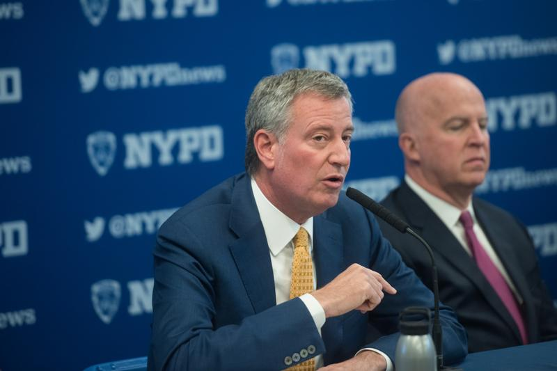 Mayor Bill de Blasio and Police Commissioner James O'Neill hold a crime statistics press conference at the Edward Byrne Police Athletic League Center in Queens.