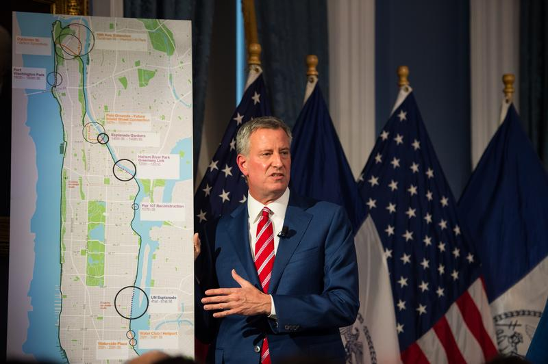 New York City Mayor Bill de Blasio presents the Executive Budget for 2018 in the Blue Room on Wednesday. April 26th, 2017.