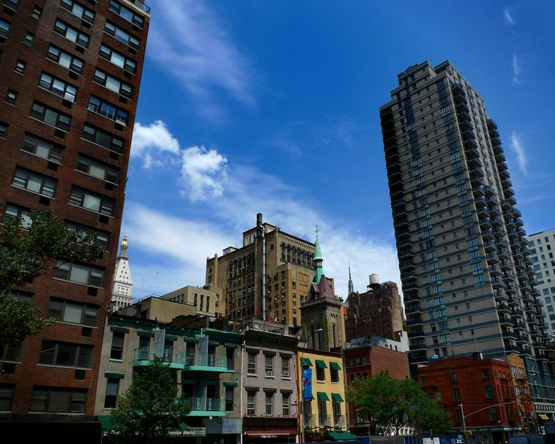 NYC apartment buildings.