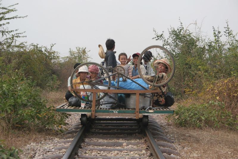 A bamboo train in Cambodia