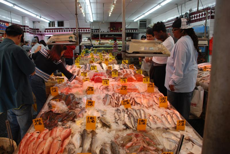 A fish market in Chinatown.