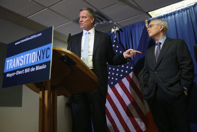 New York City Mayor-Elect Bill de Blasio (L), announces Anthony Shorris as First Deputy Mayor during a press conference on December 4, 2013 in New York City.
