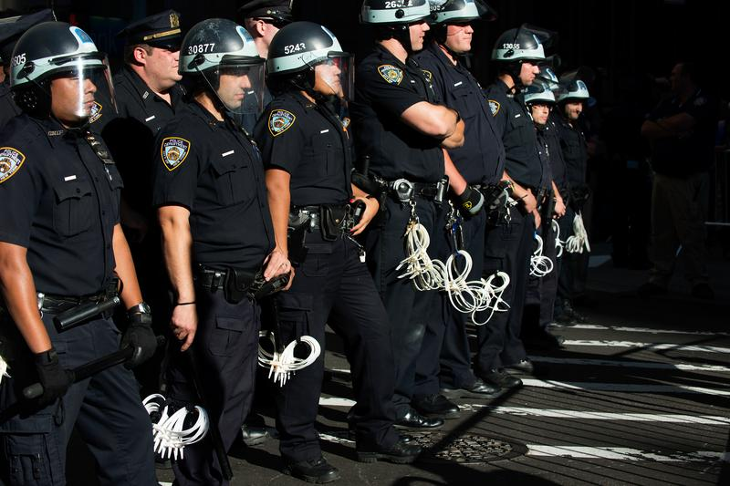 Police line the middle of Broadway during a climate change protest on September 22, 2014 in New York City.