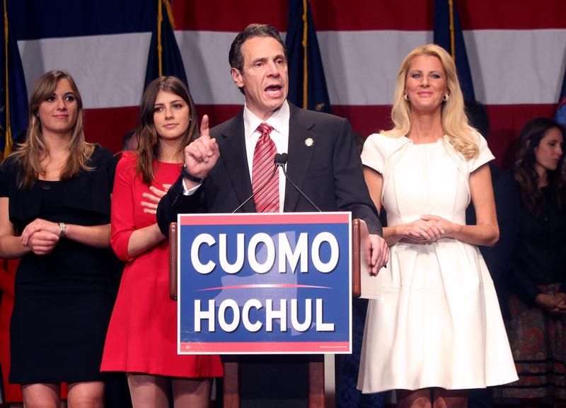 Gov. Andrew Cuomo, Sandra Lee and family on stage after Andrew Cuomo won re-election for a second term