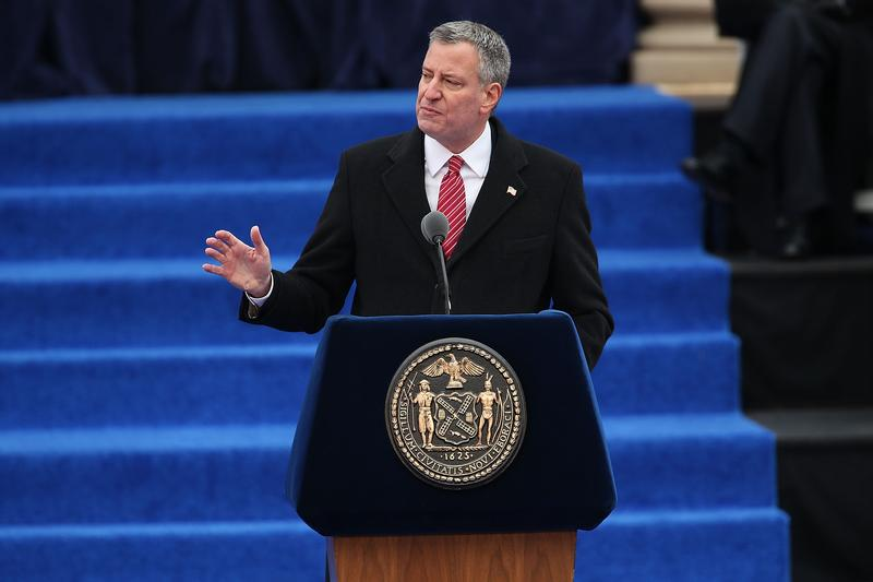 Bill De Blasio sworn in as New York City Mayor on January 1, 2014.