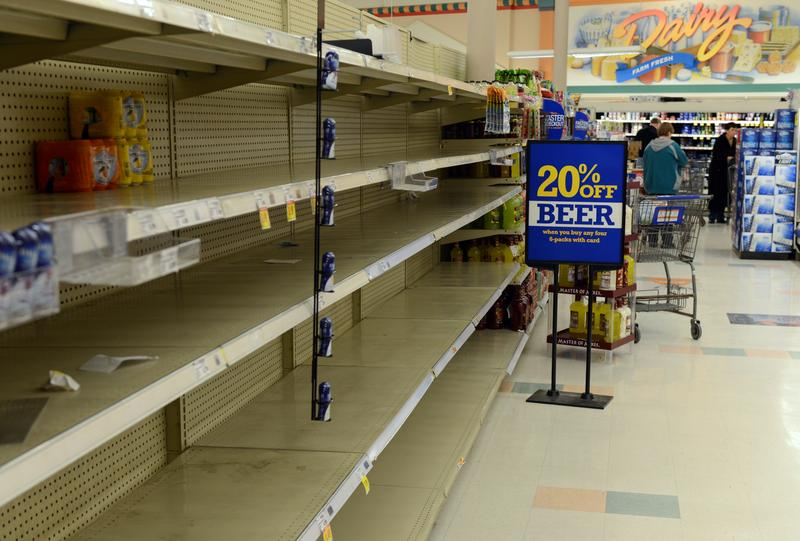 Shelves at Krogers remain empty after running out of water in Kanawha City, a neighborhood of Charleston, West Virginia on January 10, 2014