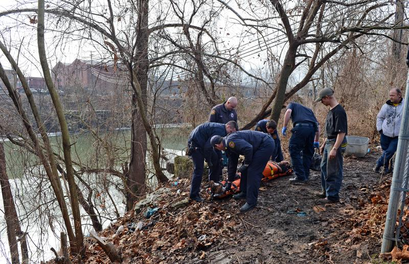 Charleston Paramedics responded to a man unresponsive on the banks of the Elk River on January 10, 2014 in Charleston, West Virginia. Authorities thought it might be related to the chemical leak.