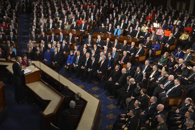 US President Barack Obama speaks during the State of the Union address on Capitol Hill January 20, 2015 in Washington, DC.