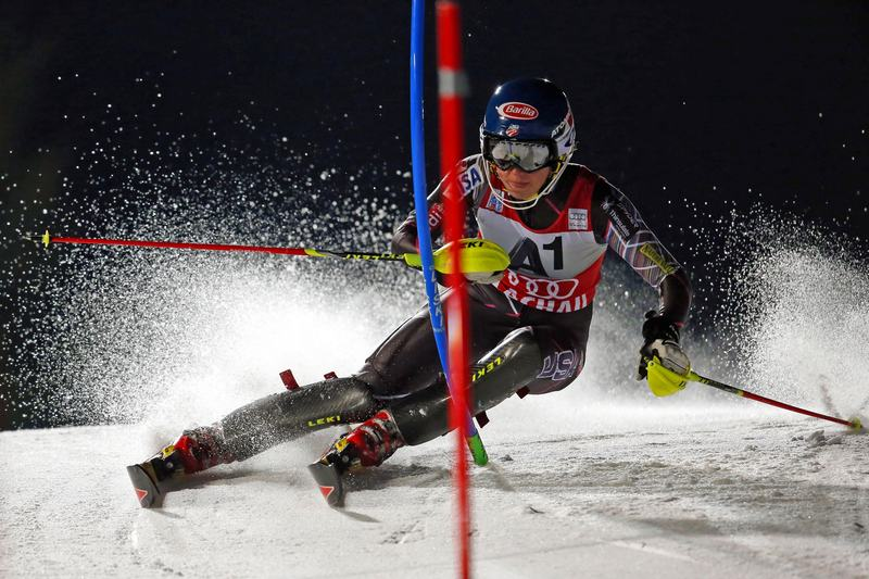 Mikaela Shiffrin of the USA takes 1st place during the Audi FIS Alpine Ski World Cup Women's Slalom on January 14, 2014 in Flachau, Austria.