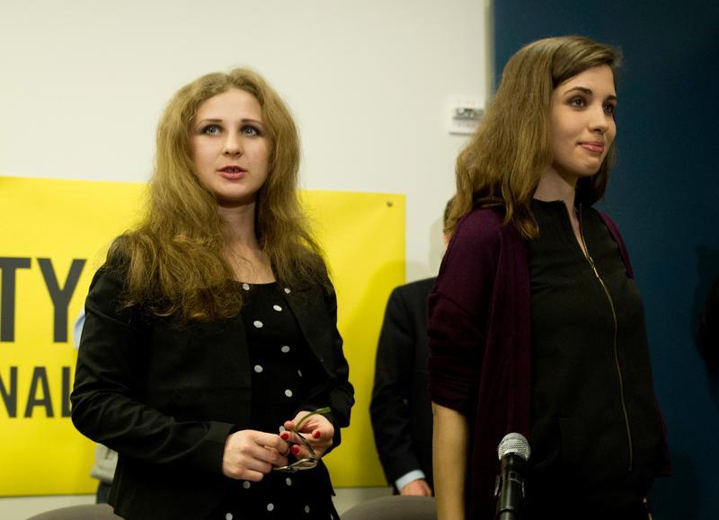 Maria Alyokhina and Nadezhda Tolokonnikova of Pussy Riot, at a news conference at Amnesty International in New York.
