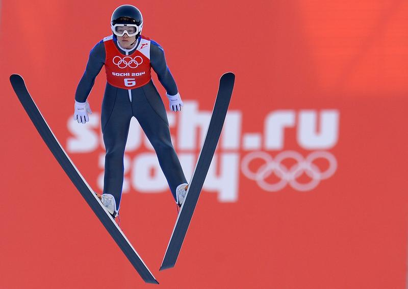 Lindsey Van of United States jumps during the Ladies' Normal Hill Individual Ski Jumping training on day 1 of the Sochi 2014 Winter Olympics at the RusSki Gorki Ski Jumping Center on Feb. 8, 2014.