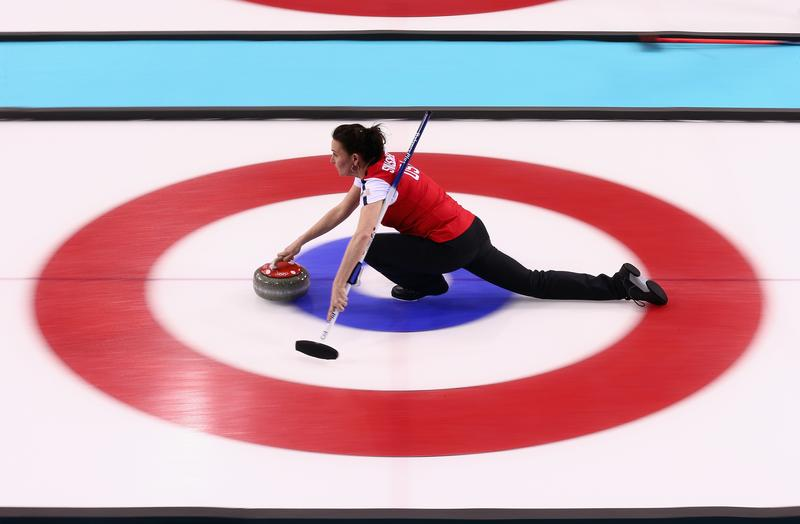 Jessica Schultz of USA in action during curling training on day 2 of the Sochi 2014 Winter Olympics at the Ice Cube Curling Centre on February 9, 2014 in Sochi, Russia.