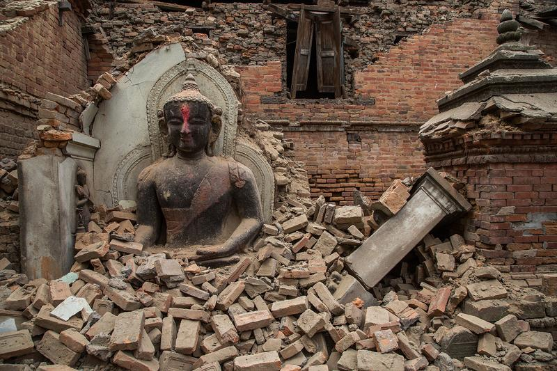 The ruins of a temple in Bhaktapur, Nepal, following a devastating 7.8 magnitude earthquake on April 26, 2015.