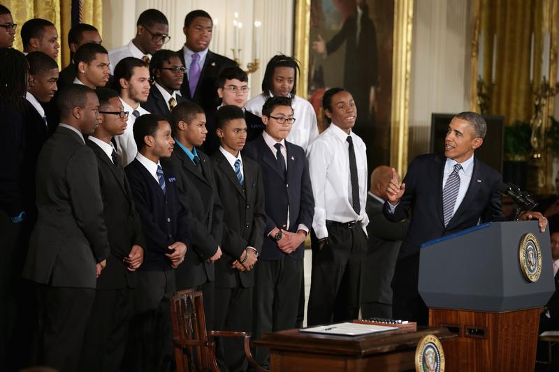 U.S. President Barack Obama delivers remarks about his 'My Brother's Keeper' initiative with students from the Chicago's Youth Guidance program Becoming a Man at the White House. Feb. 27, 2014