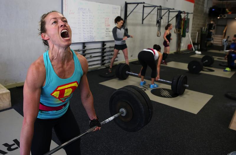 Lita Collins does a deadlift during a CrossFit workout at Ross Valley CrossFit on March 14, 2014 in San Anselmo, California.