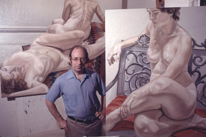 Modern realist painter Philip Pearlstein photographed in his New York studio in 1971.