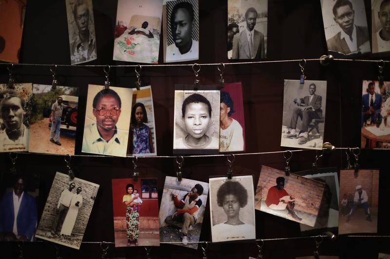 Family photos of victims of the 1994 Rwanda genocide hang inside the Kigali Genocide Memorial Centre April 5, 2014 in Kigali, Rwanda.