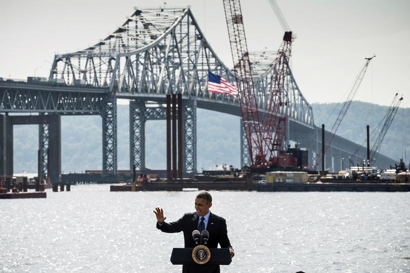 President Obama, standing in front of the Tappan Zee Bridge in May 2014