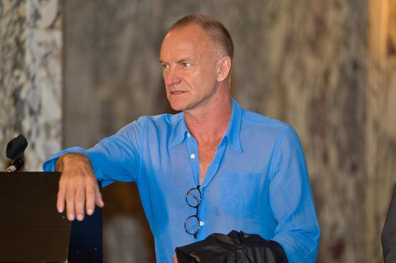 Sting attends 'The Last Ship' Pre-Broadway news conference at Cadillac Palace Theatre on May 27, 2014 in Chicago, Illinois.