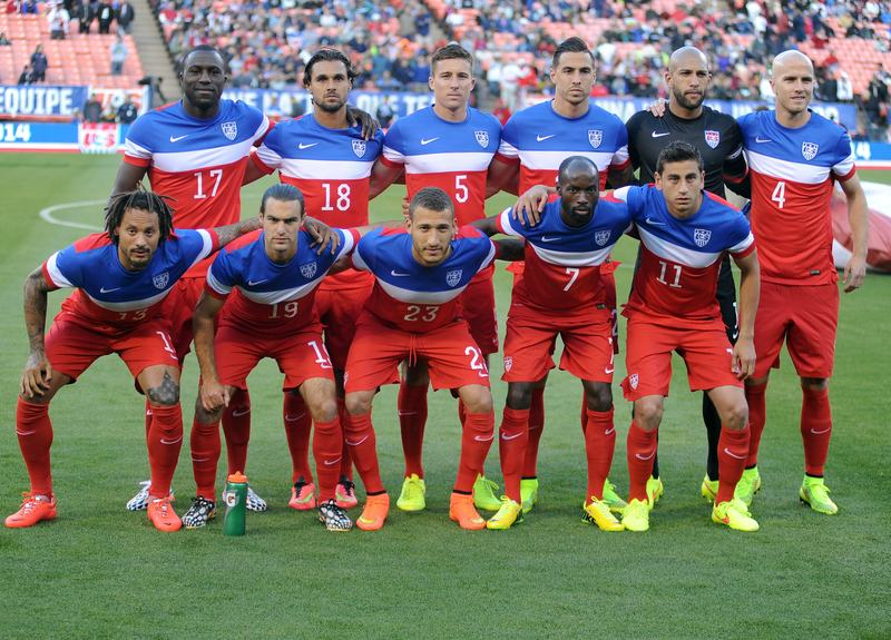 The US men's national team poses for a photo before the start of a World Cup preparation match against Azerbaijan at Candlestick Park in San Francisco on May 27, 2014.