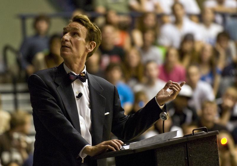 Bill Nye (The Science Guy) giving a lecture at Penn State University