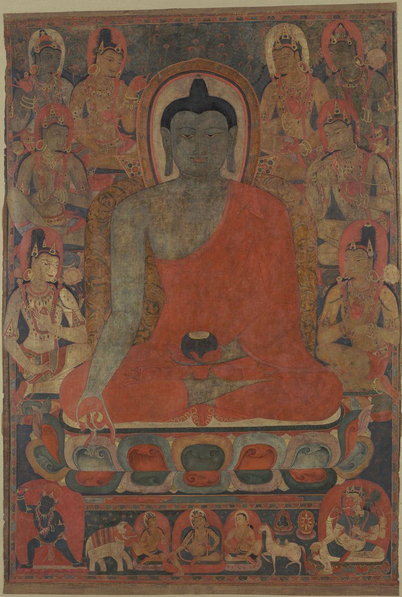 Medicine Buddha Bhaiṣajyaguru with eight bodhisattvas Tibet; 12th century