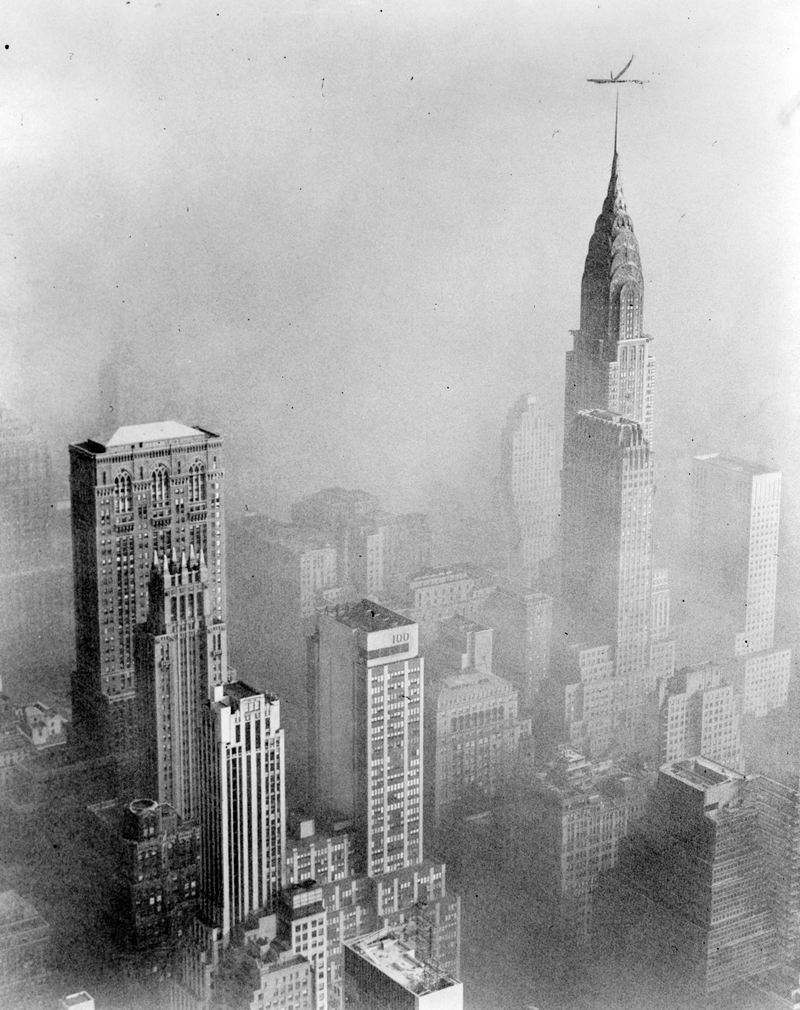 Smog obscures view of Chrysler Building from Empire State Building, New York City, January 1, 1953.