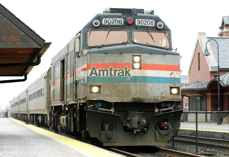 Amtrak's Hiawatha train from Milwaukee, Wisconsin to Chicago arrives at the Amtrak station February 8, 2005 in Glenview, Illinois.
