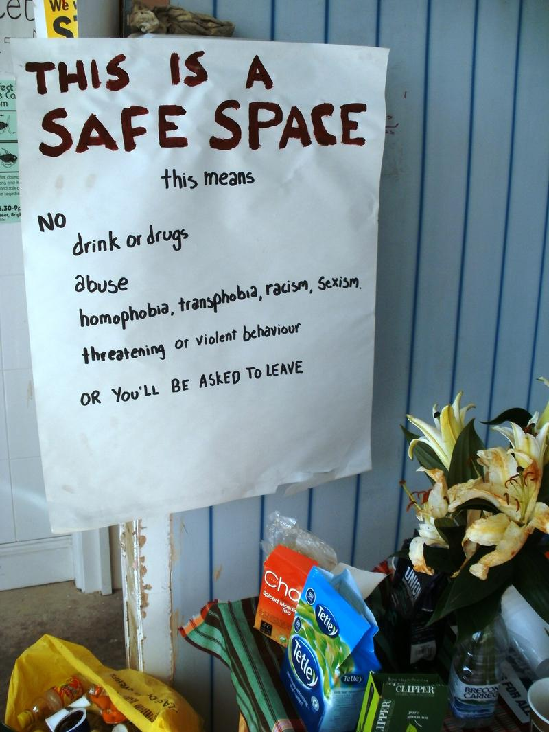 A sign posted at a safe space.