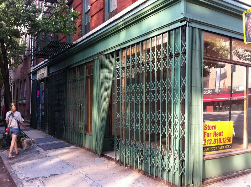 A storefront for rent in Greenwich Village