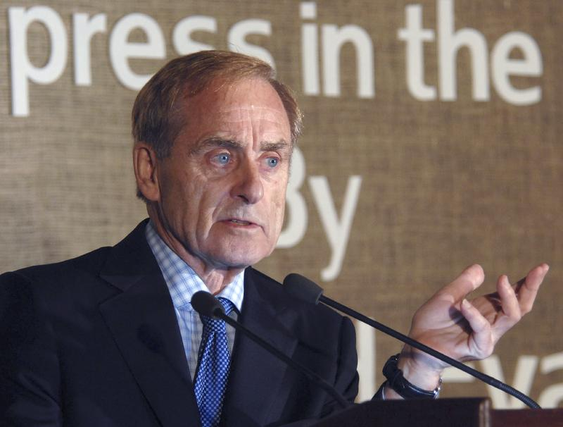 British born editor and writer Sir Harold Evans speaks in New Delhi, India, Thursday, Nov. 15, 2007.