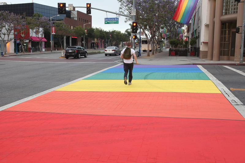 A rainbow crosswalk in Los Angeles
