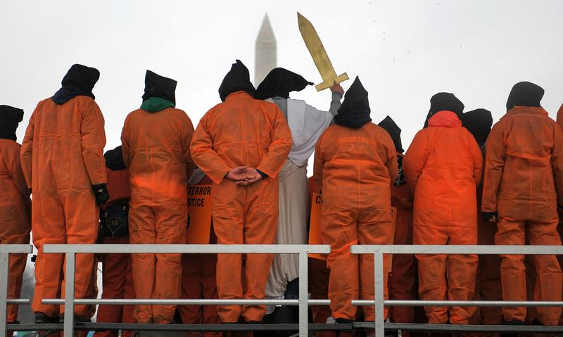 Demonstrators hold a rally against torture 11 January 2008 on the National Mall in Washington, DC.