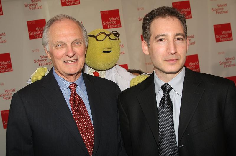 Actor Alan Alda, Muppet scientist, Dr. Bunsen Honeydew, and World Science Festival founder and physicist Brian Greene pose for a photo at the 2008 World Science Festival at NYU.