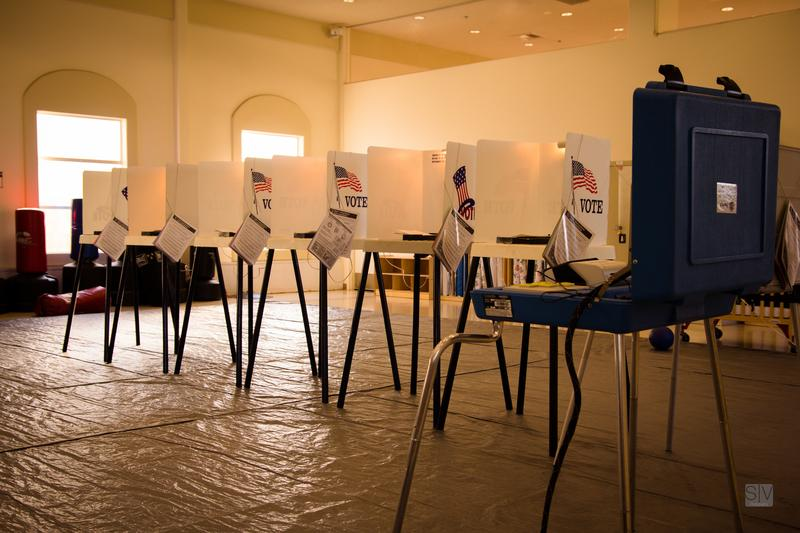 Voting booth in Los Angeles County in 2012.