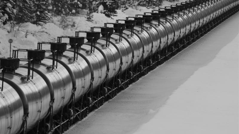A rail car carrying oil through Montana