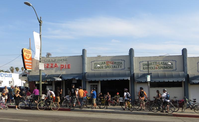 Bicyclists outside an L.A. business