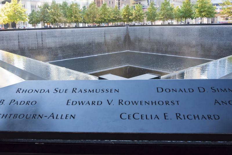 Names of victims carved at Ground Zero memorial or September 11 Memorial pool at the site of earlier World Trade Centre in New York City.