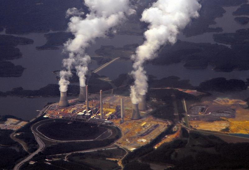 Georgia Power's coal-fired steam-turbine electric generating Plant Bowen in Euharlee, Georgia, about 40 miles northwest of Atlanta is seen from a commercial airliner on September 12, 2009.