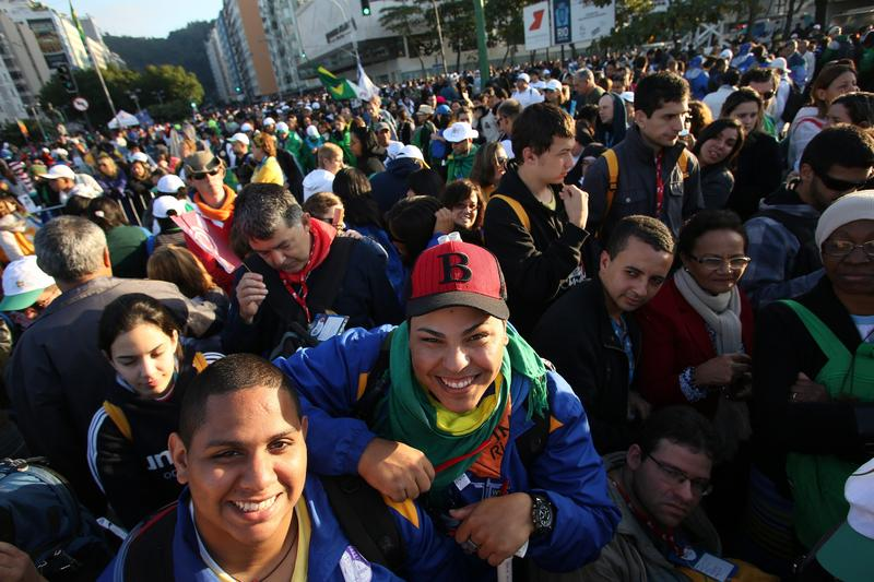 A crowd in Rio de Janeiro, Brazil
