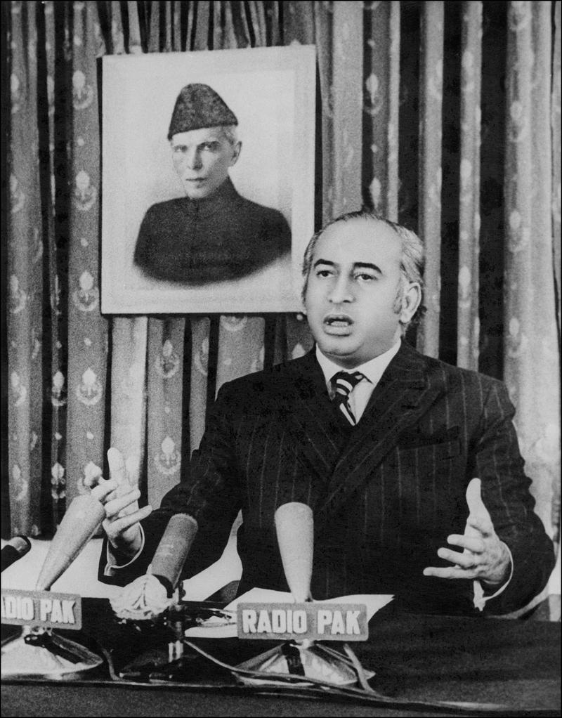 Zulfikar Ali Bhutto, former Paskistani president and then prime minister adressing the Nation over TV on December 20, 1971.
