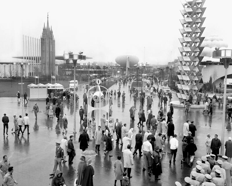 Crowds make their way to various pavilions on opening day of the 1964-65 New York World's Fair, which was built on the site of the 1939 World's Fair at Flushing Meadow in Queen, April 22, 1964.