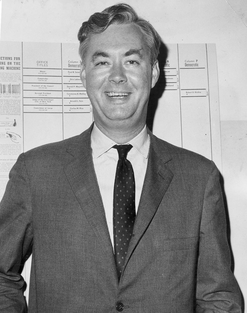 Daniel Patrick Moynihan, candidate for City Council President, at the 34th St. Armory, September 14, 1965.