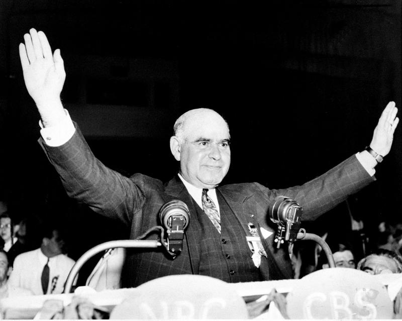 N.Y. Governor Herbert Lehman as he uncorked a wave of enthusiasm at the Democratic convention in his speech seconding the nomination of President Roosevelt, June 26, 1936..